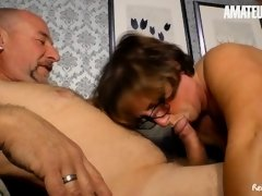ReifeSwinger - Big Tits German Mature Sucks And Fucks Lucky Guys In Steamy Threesome