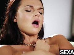 Sexy French blonde eats her brunette girlfriend's pussy