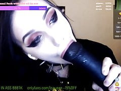 Russian informal girl shoves a big black dildo in her ass