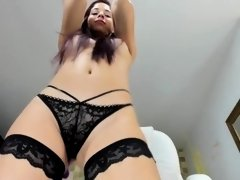 How exciting is my beautiful lingerie, it makes me cum with my thick dildo from so much putting it d