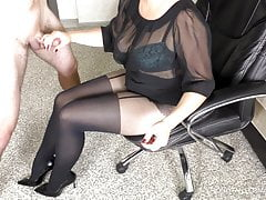 Teacher helps her student with homework in sexy pantyhose