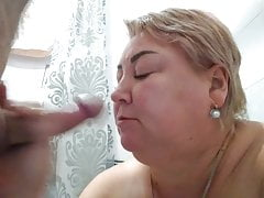 Horny Blonde Milf fucks shy young Guy